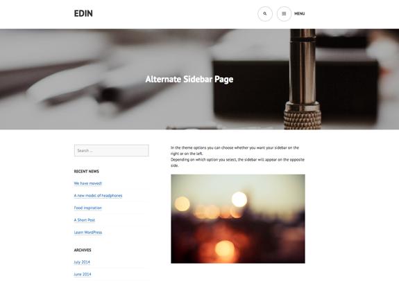 Alternate Sidebar Page | Edin