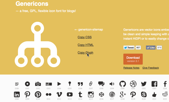 Genericons - a free, GPL, flexible icon font for blogs!