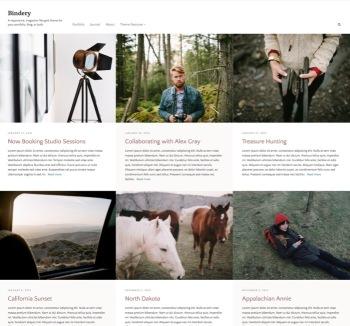 News Bindery A responsive, magazine-like grid theme for your portfolio, blog, or both.